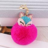 아름다운 다이아몬드 Fox 맨 위 모피 POM POM 가짜 토끼 모피 Keychain