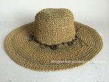 El papel de ganchillo a mano mujer sombrero de paja de algas