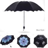 Три складные зонты от дождя элегантный дизайн листьев женщин компактный девочек дождливый солнечный день Strong рамы зонтиками от солнца