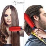 2 en 1 cepillo rápido eléctrico de la enderezadora del pelo del LCD del anión