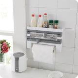Rack de armazenamento de Filme de cozinha com uma folha de alumínio do Cortador de toalha de papel de churrasco Rack de armazenamento