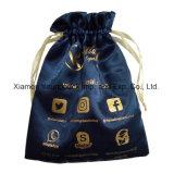 Impressão personalizada personalizada luxuoso Tecido acetinado branco pequeno estojo de jóias