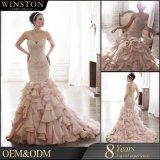 100% reale Foto-nach Maß schweres wulstiges Organza-Hochzeits-Kleid