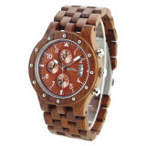 Orologio multifunzionale di legno di Quarzt del cronografo