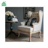 Unión de madera rústica Silla de ocio para dormitorios, antiguos sillones tapizados