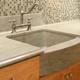 Surface solide salle de bain haut de la vanité de pierre en marbre avec lavabo