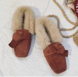 Ботинки шерсти зимы теплые плоские для девушок способа
