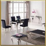 의자를 식사하는 현대 프랑스 작풍 식당 백색 비친 크롬 은 루이 유리제 식탁 스테인리스와 우단 직물
