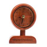 Horloge d'alarme en bois fabriquée à la main de Tableau de cru d'antiquité de cadeau de naissance