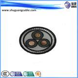 Тонкая стальная проволока бронированные и ПВХ изоляцией и пламенно силового кабеля добычи угля