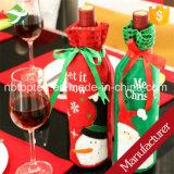 Sacchetto del regalo del sacchetto del coperchio della bottiglia del vino rosso del Babbo Natale per le decorazioni di natale