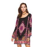 2018 Nuevo diseño de la Mujer Plus Size Casunal algodón vestido corto