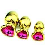 ذهبيّة قلب شكل معدن سدادة شرجيّ بلّوريّة يحلّى شرجيّ لعب طرف سدادة [90إكس40مّ] جنس منتوجات لعب لأنّ رجال نساء [غس0316]