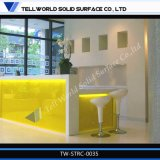 Projeto branco da mesa dianteira do contador da recepção do escritório da mobília de superfície contínua acrílica