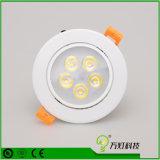 la MAZORCA embutida Downlight LED del techo de 3W Dimmable LED abajo se enciende con garantía de 3 años