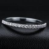 Il diamante cubico di Zirconia della fascia di Jennie che imposta anello argenteo 925 per i monili di cerimonia nuziale