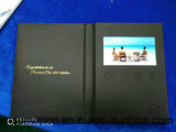 """A5黒いPU 5 """" LCDのパンフレットのビデオ郵便利用者の名刺"""