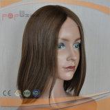 Peluca médica de la Virgen del pelo del frente completo del cordón (PPG-l-01569)