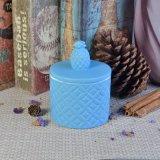 Vasi di ceramica di memoria della candela di figura blu dell'ananas del Matt con il coperchio