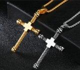 人のためのワイヤーケーブルの十字のネックレスは十字架像の吊り下げ式の金の銀の絵の具箱の鎖のステンレス鋼の男性のネックレスを個人化した