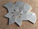 Azulejo de mosaico Waterjet del metal de Italia del diseño mezclado de mármol gris del girasol