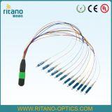 Câble optique de joncteur réseau de fibre de MPO/MTP Ll assemblant Patchcords