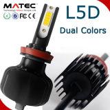 Moto/coche accesorios de color doble de luz LED Auto 12V 24V 80W 8000LM H7, faros LED
