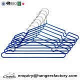 Fornecedor auditadas de metal com revestimento de PVC Azul fio de Lavandaria Cabide