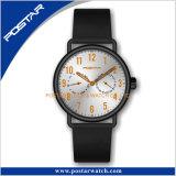 カスタマイズされたPantoneカラーダイヤルのMiyotaの水晶革バンドの腕時計の人