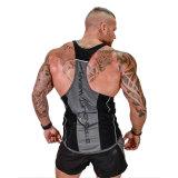 Corridore posteriore nero delle parti superiori di serbatoio del muscolo della traversa della maglietta giro collo degli uomini della parte superiore di serbatoio di ginnastica Y