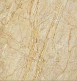 Azulejo de suelo esmaltado por completo pulido barato de la porcelana de la mirada del mármol del amarillo del precio 60X60