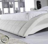 Base di cuoio di legno solida della camera da letto di immaginazione di lusso della mobilia