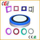LED 창유리 램프 6+3W/12+4W/18+6W 두 배 색깔 LED 가벼운 LED 위원회 점화 사각 또는 둥근 LED 위원회 빛