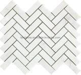 El patrón de espina de pez mosaico de mármol blanco para el diseño de interiores