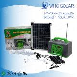 Casa e kit solare portatile di campeggio di illuminazione di CC 10W di uso