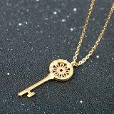 Ожерелье свитера ключа цветка Sun выгравированных женщин римского цифра привесное