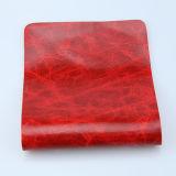 Лоснистая напечатанная мраморизуя синтетическая кожа PU для драпирования софы (F8002)