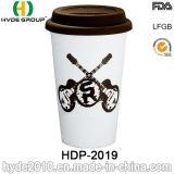 16oz Wholesale doppel-wandige Plastikkaffeetasse mit Kappe (HDP-2023)