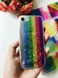 La nueva caja líquida del teléfono de la arena movediza del arco iris TPU del brillo de la estrella