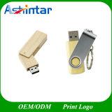 Hölzernes USB-Blitz-Laufwerk Bambus-USB-Flash-Speicher-Metallschwenker USB-Stock