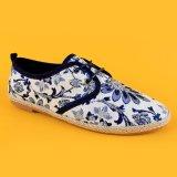 Frauen-Lace-up blaue flache beiläufige Schuh-geschlossene Zehe-Espadrilles Flatform Espadrilles