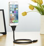 Flexível Stand up USB Cable Charger Metal Mangueira Stand Holder Steel Cable for iPhone Android