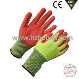 Alto guante resistente cortado Hppe visible del trabajo de la seguridad