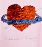 주문 감미로운 소녀의 Flyin 접시에 의하여 인쇄되는 Sequin t-셔츠