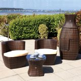 Patio-Garten-Balkon sitzt ringsum Rattan-entspannenden Sofa-Stuhl mit bequemem Kissen, das Sofa vor, das für Verkaufs-Möbel eingestellt wird