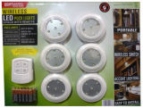 Lanterna sem fio LED Stick-on Tap Puck Cabinet Light com controle remoto