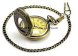 Custom Logo Analog Quartz Gold Pocket Watch Chaîne 50mm