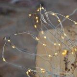 Lumière blanche chaude de chaîne de caractères de cascade à écriture ligne par ligne de corde du micro DEL de fil argenté