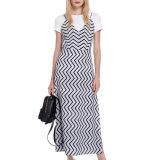 Form-Frauen reizvolles dünnes V-Stutzen Streifen-Seiten-Schlitz-Beleg-Kleid