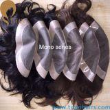 Unsichtbares Knoten-Menschenhaar-kundenspezifische Haar-Systeme